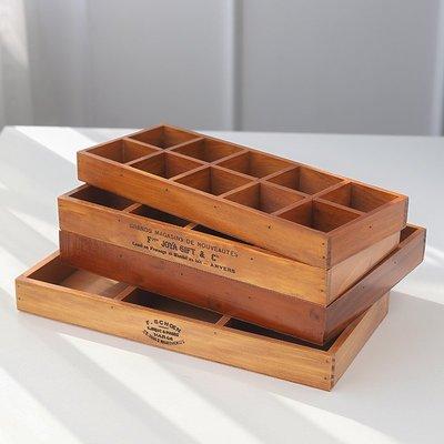 zakka首飾木質桌面收納盒 十二格長方形分格復古木盒化妝品整理盒一品閣