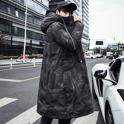 羽絨 外套 連帽夾克-中長款迷彩立體刺繡男外套2色73un7[獨家進口][米蘭精品]