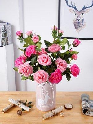 假玫瑰花束仿真花塑料花裝飾客廳插花室內干花香皂保濕玫瑰花單支