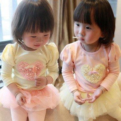 艾町Eyeing Shop 韓國童裝  韓版  斷碼出清  春裝女童胸前珍珠蕾絲愛心長袖T