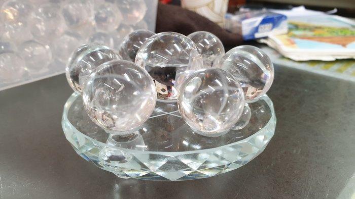白水晶球七星陣清透天然巴西白水晶七星陣10公分玻璃底盤【東大開運館】