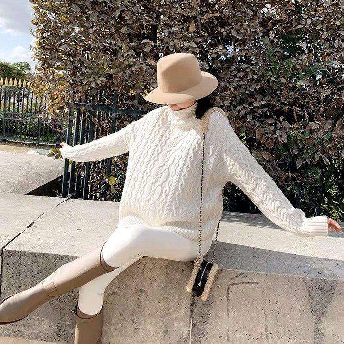 ❤JM SHOP韓風❤經典復古風絞花高領綿羊毛毛衣