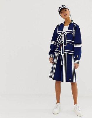 adidas Originals x Ji Won Choi 限量聯名 海軍條紋 拼接 五分運動短褲