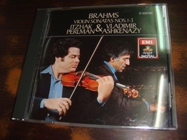 好音悅 帕爾曼 Perlman Ashkenazy Brahms 布拉姆斯 三首小提琴奏鳴曲集 EMI 美版 無IFPI