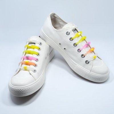 VING硅膠懶人方頭免繋免綁休閒運動鞋帶彩色橡膠鞋帶登山鞋帶