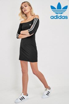 ~The Black Dan Moccani~ Adidas Originals 三葉草 露肩 ㄧ字領 運動短洋裝