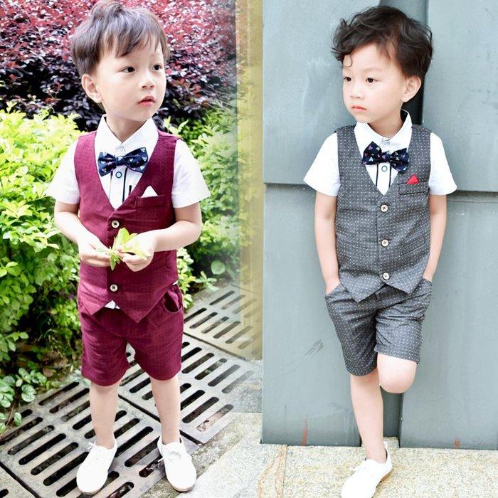 夏季新款韓版兒童小紳士套裝/男童套裝/花童服/畢業典禮服/宴會服/表演服/馬甲短袖+短褲~超值四件組(預購款)共二色