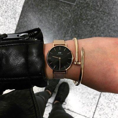 新款黑面 Daniel Wellington 金框 銀框 玫瑰金 黑色 金屬錶帶 DW 手錶 32/28 可加購dw手環