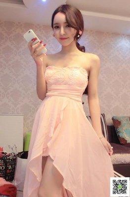 露背洋裝 夜店性感抹胸不規則雪紡連身裙可愛花朵仙女裹胸露背公主禮服洋裝 玫瑰女孩