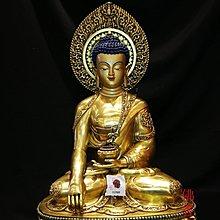東來閣(紫氣東來)佛具用品 尼泊爾手工 藏傳密宗佛像 紫銅鎏金雕刻吉祥八寶 60cm 釋迦牟尼佛 nbe701