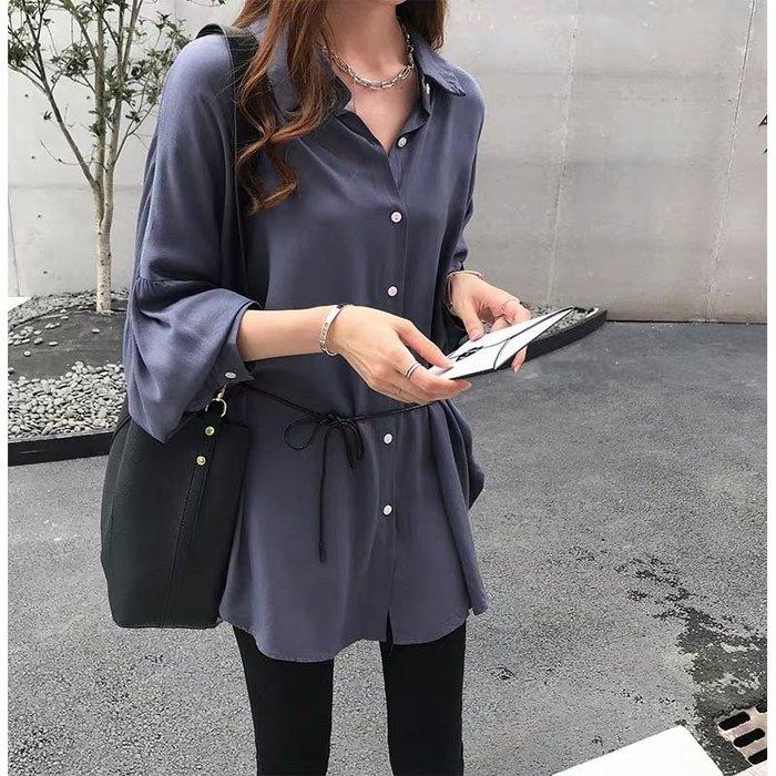 韓版休閒時尚寬鬆百搭上衣長版襯衫