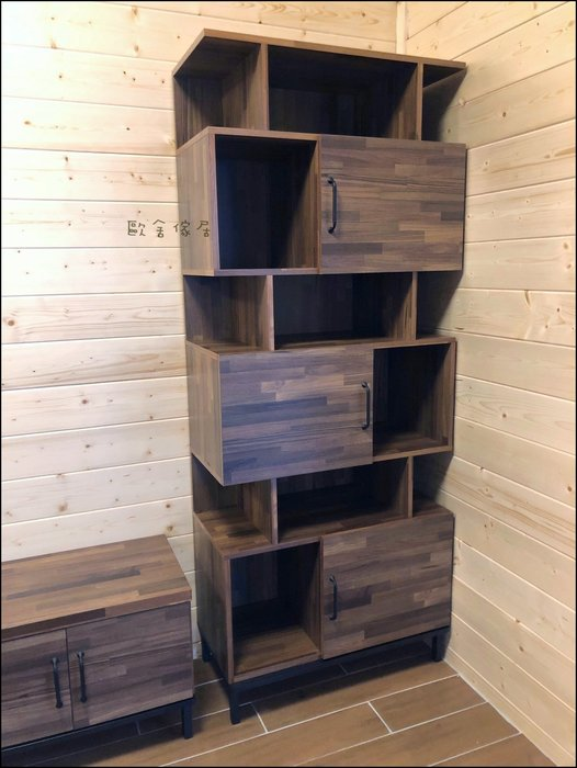 木製三門開放式高低櫃 簡約風鐵腳高書櫃書櫥收納櫃展示櫃電器架隔間櫃置物櫃餐櫥櫃 旁邊電視櫃.大茶几另計【歐舍傢居】
