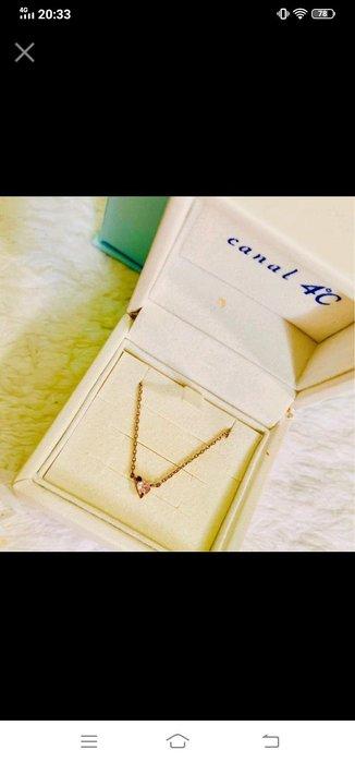 日本製新娘鑽戒夢想首位4℃高貴精細珠寶品牌 玫瑰金鍍純銀 粉红藍寶石細鑲精工美鍊