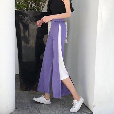 褲子紫色女寬松bf風闊腿潮原宿風港味顯瘦溫柔風