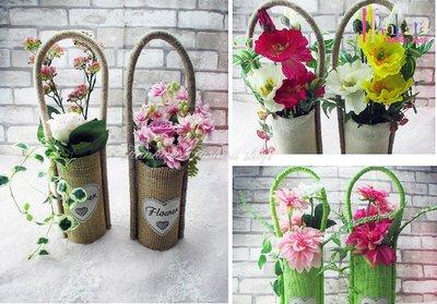 ☆[Hankaro]☆ 田園風格麻布花籃手提仿真花插花室內擺飾