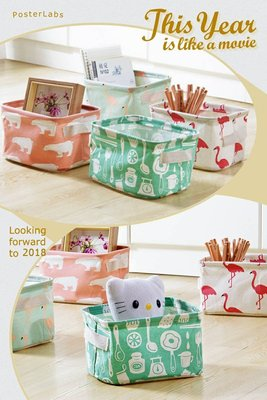 棉麻桌面收納籃 手提置物盒 玩具多功能收納盒 浴室儲物桶 北歐風格 zakka 雜物收納桶 整理箱【希望種子購物網】
