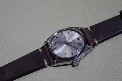 (深咖啡色)19mm收16mm ROLEX男錶用復古皮錶帶 6426 6694 1500 5500 1501等34mm用