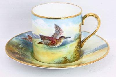 英國明頓瓷器 Minton 手繪 鷸鳥(Woodcock) 杯盤 畫師簽名 A Holland