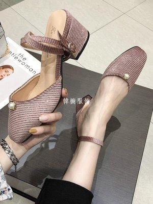 韓櫥服飾配仙女裙的鞋子女鞋2019夏季新款百搭粗跟高跟鞋一字帶羅馬涼鞋潮