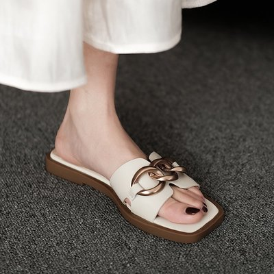 夏奈方頭金屬扣平底拖鞋女夏季外穿一字拖仙女風半托涼鞋懶人舒適平跟