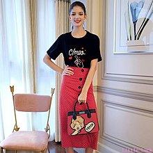 Little-Luck~ MIUCO歐洲站女2019夏新字母刺繡T恤+氣質名媛高腰波點半身裙套裝