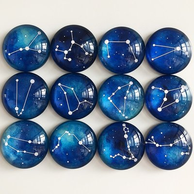 請客來~十二星座創意水晶玻璃冰箱貼一套12枚 磁貼磁力貼DIY照片定制禮品