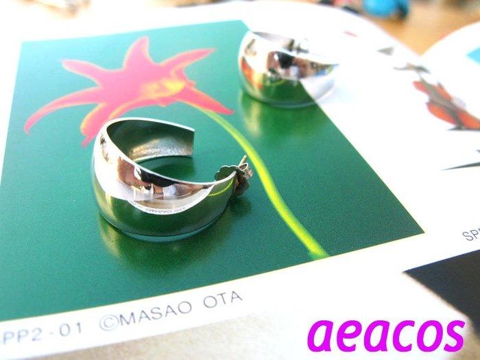 AEACOS@古董 古著 vintage retro MODs 摩登 前衛 幹練 俐落 銀色 C形 針式耳環