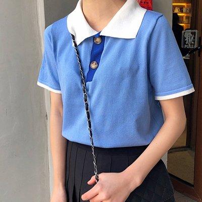 05/11 I SISTER 小中尺碼百搭學院風拼色短袖上衣65617/現+預