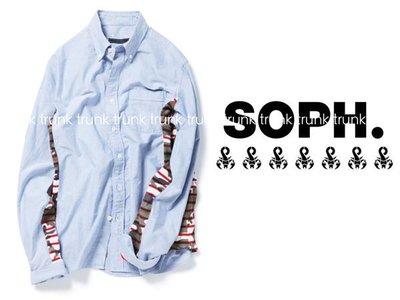 2014 SOPH SOPHNET. SIDE PANEL B.D SHIRT  BORDER CAMOUFLAGE 迷彩筐線 藍色襯衫 全新現貨