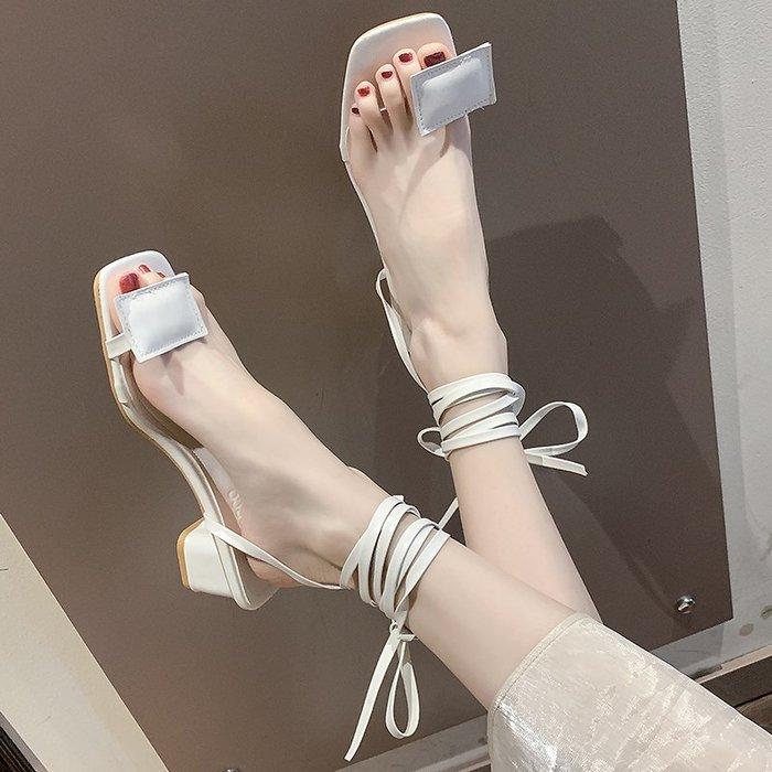 涼鞋 網紅綁帶涼鞋女2019夏季新款韓版仙女風套趾中跟百搭粗跟羅馬鞋潮