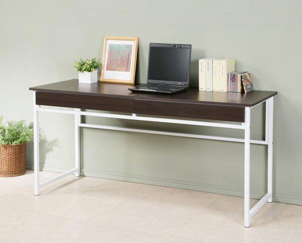 160加長防潑水電腦桌(附兩抽屜)工作桌 書桌 辦公桌【馥葉】型號DE16602DR 可加購玻璃、調整腳墊