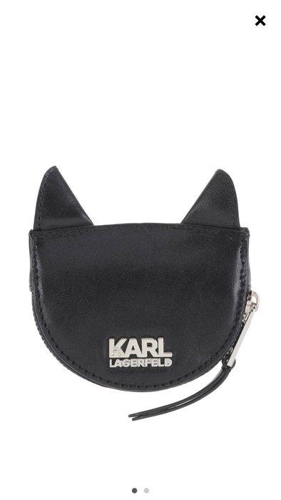 *Cali Style*全新美購[Karl Lagerfeld]黑色牛皮經典小貓頭零錢包