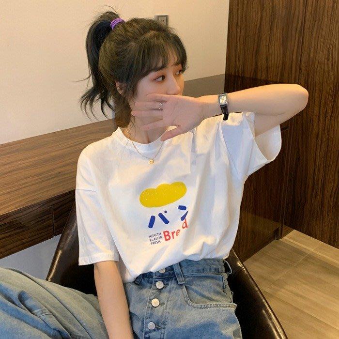 小香風 短袖T恤 時尚穿搭 韓版 古著感日系印花學生百搭減齡寬松短袖T恤上衣女