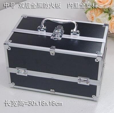 【優上】手提大號化妝箱專業化妝師紋繡工具箱彩妝箱中號黑色30cm