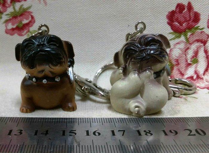 龍廬-自藏二手出清~波麗彩繪鬥牛犬(老虎狗)鑰匙圈~2個一起賣/吊飾鎖圈隨身小物