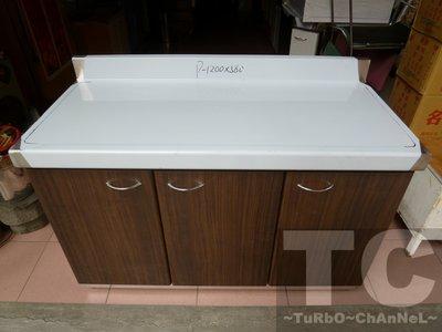 流理台【120公分工作平台-左對開】台面&櫃體不鏽鋼 深木紋色門板 最新款流理臺