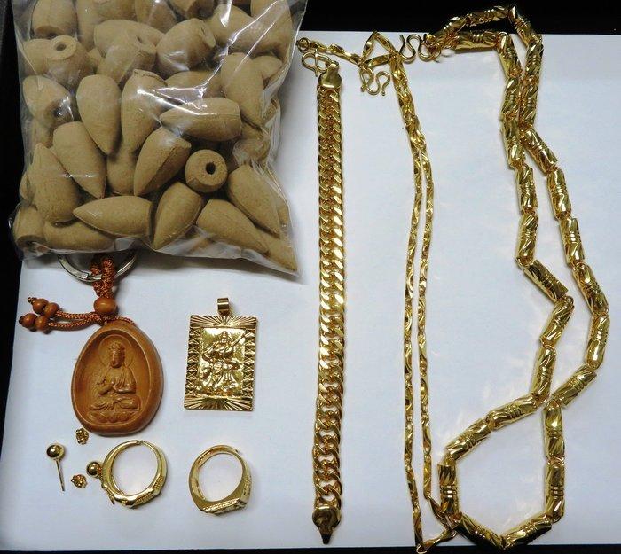 105特賣買一送八大禮 實心竹節鏈厚約7mm長62cm 送純黃銅鍍金歐幣項鍊 鍍黃金手鍊戒指 關公墜子耳釘 鑰匙圈倒流香