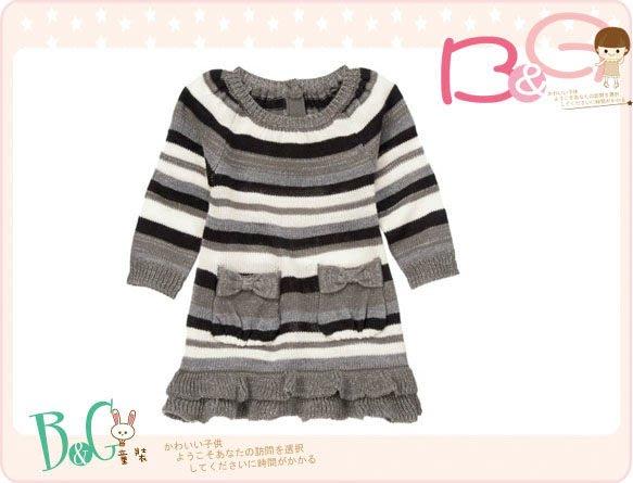 【B& G童裝】正品美國進口Crazy8 Sparkle Stripe Sweater Dress 鑲金蔥灰色條紋長袖針織洋裝18-24mos
