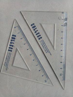 透明小三角板兩件一組合售送鉛筆橡皮擦 COLLECE 藍色刻度 等腰直角三角形10cm短尺 櫻環