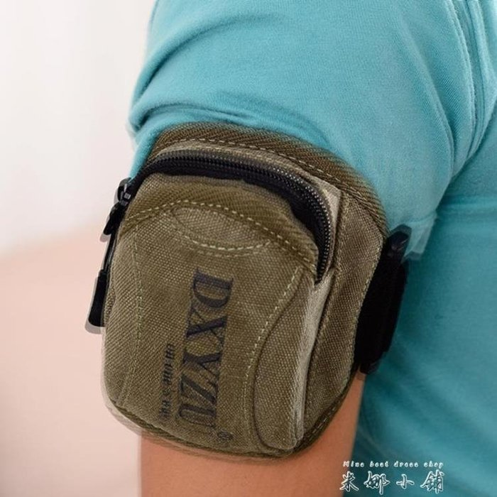 韓版男士腰包帆布手臂手腕包潮男女休閒戶外運動跑步小包手機包