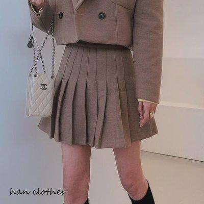 復古青春羊毛呢高腰百褶短裙。首爾直送。Sk-12191。正韓 * KOREA 韓衣角!han clothes