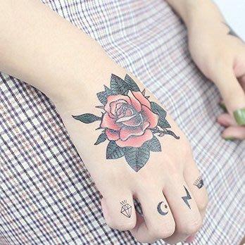 【萌古屋】】紅玫瑰 - 手背防水紋身貼紙刺青貼紙CD-104 K12