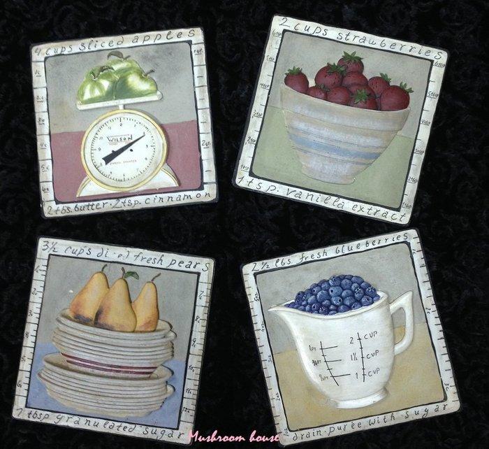 點點蘑菇屋{璧飾}美國 new view水果攤壁掛畫 立體浮雕 藍莓 草莓 蘋果 梨 掛飾 壁磚 (四片一組)