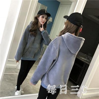 金絲絨衛衣韓版女連帽寬鬆大碼純色雙面絨上衣外套 qw1566