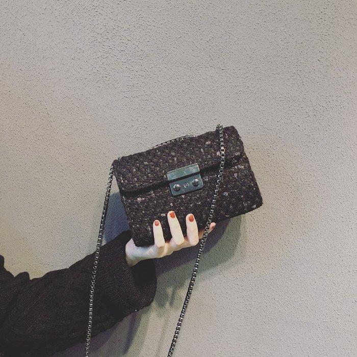 預售款-LKXD-上新小包包女新款潮韓版百搭斜挎包小香風呢子鏈條小方包