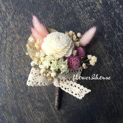 D18。乾燥花胸花。另有乾燥花捧花。拍照捧花。頭花。客製新娘捧花。台北自取【Flower&House花藝之家】