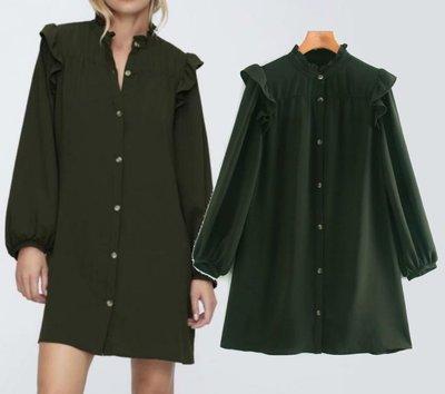 #洋裝#歐美新款秋季肩部疊層裝飾襯衫式連身裙F1-36777