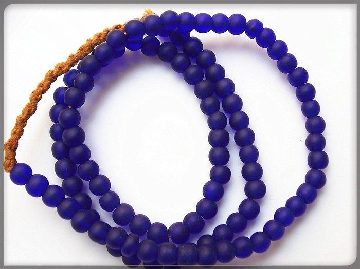 【雅之賞|藏傳|佛教文物】*特賣*尼泊爾手工老琉璃古法磨砂6mm琉璃珠一串~Q1118