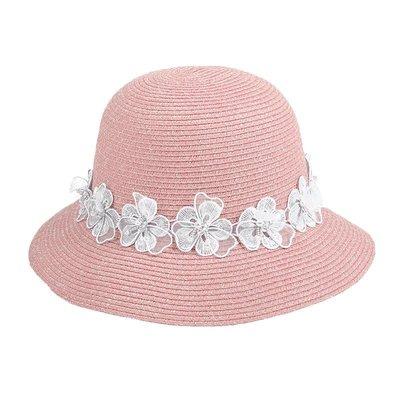 熱賣新品-帽子女夏天草帽可折疊花朵遮陽帽出游防曬帽海邊大沿沙灘帽太陽帽#遮陽帽#防曬帽