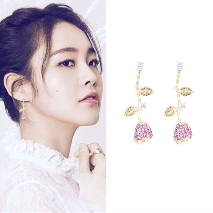 💎1624、(預購)韓國甜美微鑲玫瑰花創意輕奢耳環💎 名牌精品 耳環 925純銀耳針 空運來台 輕奢珠寶 正韓飾品